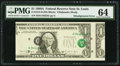Misalignment Error Second (Face) Print Misaligned Fr. 1915-H $1 1988A Federal Reserve Note. PMG Choice Uncirculated 64.&...