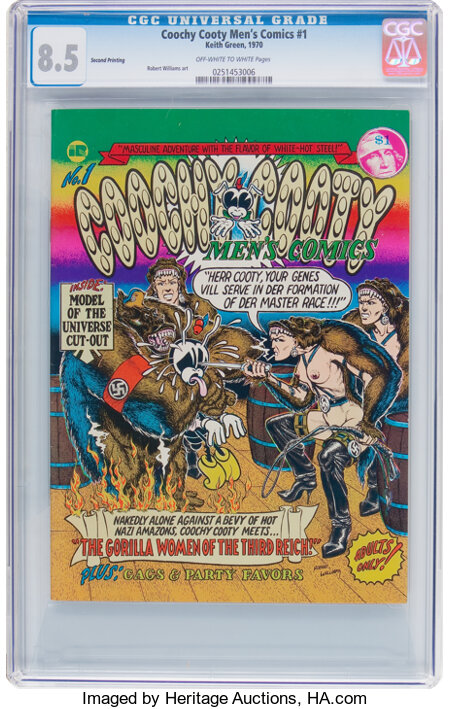 Coochy Cooty Men's Comics #1 Second Printing (Keith Green, 1970) CGC VF+ 8.5 Off-white to white pages....