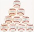 Autographs:Baseballs, Baseball Greats Single/Multi Signed Baseballs Lot of 10 - IncludesRachel Robinson....