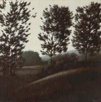 Robert Kipniss (American, b. 1931) Untitled (Landscape with Trees) Oil on canvas 21 x 21 inches (