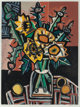 David Bates (American, b. 1952) Sunflowers and Thistles I, 1999 Screenprint in colors on wove paper 39-5/8 x 32 inche