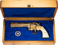 Cased and Engraved Colt Python Model Double Action Revolver Belonging to Texas Ranger H. Joaquin Jackson