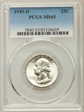 Washington Quarters, 1949-D 25C MS65 PCGS. PCGS Population: (1126/820). NGC Census:(565/718). CDN: $30 Whsle. Bid for problem-free NGC/PCGS MS6...