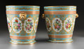 Ceramics & Porcelain, A Pair of Sevres-Style Partial Gilt Porcelain Wine Coolers, late 19th-early 20th century. 8-3/4 inches high x 9 inches wide ... (Total: 4 Items)