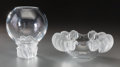 Art Glass:Lalique, A Lalique Clear and Frosted Glass Rose Vase and Bowl, post-1945.Marks: Lalique, France. 7-1/8 inches high (18.1 cm) (la...(Total: 2 Items)