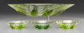 Art Glass:Lalique, A Four-Piece Lalique Clear and Green Glass Lotus Leaf BowlGarniture, post-1945. Marks: Lalique, France. 3-1... (Total:4 Items)