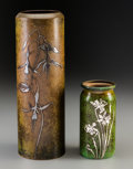 Decorative Arts, Continental:Other , Two Heintz Sterling Silver on Bronze Floral Vases, early 20thcentury. Marks: (logotype), STERLING ON BRONZE, 3846; 3623 C...(Total: 2 Items)