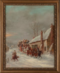 Fine Art - Painting, European, John Charles Maggs (British, 1819-1896). Stagecoach inWinter. Oil on canvas. 21 x 17 inches (53.3 x 43.2 cm). Signedan...