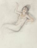 Fine Art - Work on Paper:Drawing, Edouard Chimot (French, 1880-1930). Portrait of a NudeWoman. Pencil and conte crayon on paper. 13-1/2 x 10-1/4 inches(...