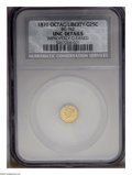 California Fractional Gold: , 1870 25C MS60--Improperly Cleaned--Liberty Octagonal 25 Cents,BG-762, Low R.4, NCS, UNC Details. PCGS Population (5/61)...