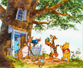 Animation Art:Production Cel, Winnie the Pooh and Tigger Production Cel with Key MasterBackground (Walt Disney, c. 1970s-80s). ...