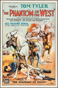 """The Phantom of the West (Mascot, 1931). One Sheet (27"""" X 41"""") Chapter 2--""""The Stairway of Doom."""" Ser..."""