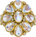 Estate Jewelry:Rings, Moonstone, Diamond, Gold Ring, Temple St. Clair. ...