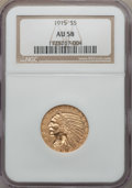 Indian Half Eagles: , 1915 $5 AU58 NGC. NGC Census: (1275/4854). PCGS Population:(806/3669). CDN: $365 Whsle. Bid for problem-free NGC/PCGS AU58...