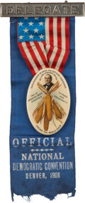 Political:Pinback Buttons (1896-present), William Jennings Bryan: Ear of Corn Delegates Badge for the 1908 Democratic Convention....
