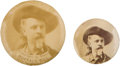 """Western Expansion:Cowboy, William F. """"Buffalo Bill"""" Cody: Two Celluloid Photo Portrait Pins.... (Total: 2 Items)"""