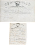 """Western Expansion:Buffalo Soldiers, George Armstrong Custer: Signed 7th Cavalry Promotion Document ofFerdinand Culbertson, Who Recovered the Famed """"Culbertson Gu..."""