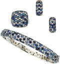 Estate Jewelry:Suites, Sapphire, Sterling Silver Jewelry Suite, Effy. ... (Total: 3 Items)