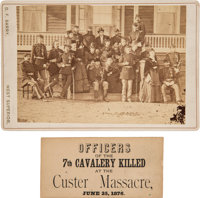 Custer and His Staff: A Rare Original Cabinet Photo Taken at Fort Abraham Lincoln