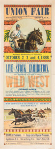Western Expansion:Cowboy, Wild West Show and County Fair Poster From 1888....
