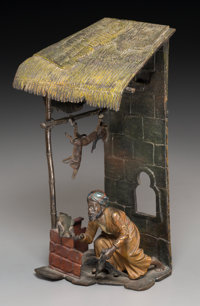 A Bergman-Style Cold-Painted Bronze Figural Lamp: The Butcher's Stall 8-3/4 h x 4