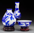 Asian:Chinese, Three Pieces of Blue and White Peking Glass. 9 inches high x 5-1/2 inches diameter (22.9 x 14.0 cm) (largest, large vase. ... (Total: 3 Items)