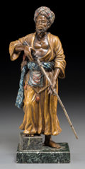 Decorative Arts, Continental:Other , A Bergman-Style Cold-Painted Bronze Figure: Arab with Rifle.10 inches high x 3-1/2 inches wide (25.4 x 8.9 cm). ...