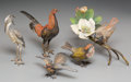 Decorative Arts, Continental, Five Bergman-Style Cold-Painted Bronze Birds. 4-5/8 inches high(11.7 cm) (tallest, rooster). ... (Total: 5 Items)