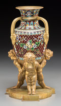 Decorative Arts, Continental:Other , A Diminutive Continental Gilt Bronze, Gilt Metal, and ChamplevéFigural Urn. 8-1/2 inches high (21.6 cm). ...
