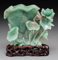 Asian:Chinese, A Chinese Carved Jade Lotus Group on Wooden Stand. 4-1/2 h x 5-5/8w x 3 d inches (11.4 x 14.3 x 7.6 cm) (group excluding st...(Total: 2 Items)