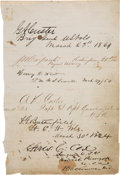 Autographs:Military Figures, George Armstrong Custer: A Fine, Bold Signature on aWell-Documented 1864 Train Muster....