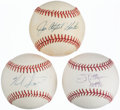 Autographs:Baseballs, Baseball Greats Single Signed Baseballs Lot of 3 - Hunter, Palmerand Score....