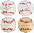 Autographs:Baseballs, Hall of Fame Pitching Greats Single Signed Baseballs Lot of 4. ...