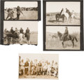 """Western Expansion:Cowboy, [Johnny Baker]. Group of Photographs (5) Taken During the Filmingof """"The Indian Wars.""""..."""