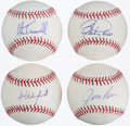 Autographs:Baseballs, Baseball Greats Single Signed Baseball Quartet (4) - Rice,Winfield, Trammel, & Larkin. ...