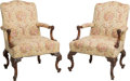 Furniture : Continental, A Pair of English Carved Walnut Armchairs in the Rococo Taste.39-1/4 h x 28-1/4 w x 32-1/2 d inches (99.7 x 71.8 x 82.6 cm)...(Total: 2 Items)