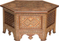 Furniture : Continental, A Syrian Hexagonal Inlaid Wood Entry Table. 29 inches high x 59inches diameter (73.7 x 149.9 cm). ...