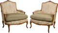 Furniture : Continental, A Pair of French Provincial-Style Bergères. 38-1/4 h x 31-1/2 w x25-1/2 d inches (97.2 x 80.0 x 64.8 cm). ... (Total: 2 Items)