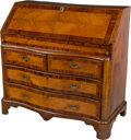 Furniture : Continental, An Italian Walnut and Fruitwood Slant Front Secretary . 43-1/2 h x42-1/4 w x 22 d inches (110.5 x 107.3 x 55.9 cm)...