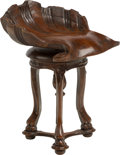 Furniture : Continental, A Venetian-Style Shell-Form Carved Wood Grotto Piano Chair. 25 h x16-1/2 w x 17-1/2 d inches (63.5 x 41.9 x 44.5 cm). ...