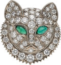 Estate Jewelry:Brooches - Pins, Diamond, Emerald, White Gold Brooch. ...