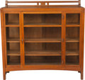 Furniture : American, A Limbert Arts & Crafts Oak and Glazed China Cabinet. 58-1/2 hx 60 w x 16 d inches (148.6 x 152.4 x 40.6 cm). PROPERTY FR...
