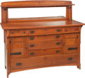 Furniture : American, A Limbert Arts & Crafts Oak Mirrored Sideboard. 51-1/2 h x 60 wx 23 d inches (130.8 x 152.4 x 58.4 cm). PROPERTY FROM A C...