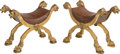 Furniture : Continental, A Pair of Italian Carved Giltwood Curule Benches. 24 h x 31-1/2 w x17 d inches (61.0 x 80.0 x 43.2 cm). ... (Total: 2 Items)