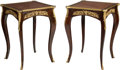 Furniture : Continental, A Pair of Louis XVI-Style Mahogany, Parquetry, and Gilt Bronze SideTables. 28-3/4 h x 20 w x 20 d inches (73.0 x 50.8 x 50.... (Total:2 Items)