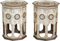 Furniture : Continental, A Pair of Syrian Carved Wood and Mother-of-Pearl Octagonal SideTables in the Moorish Taste. 22-5/8 h x 16-1/2 w x 16-1/2 d ...(Total: 2 Items)