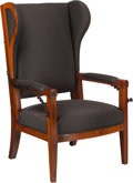 Furniture : Continental, A Biedermeier Upholstered Mahogany Reclining Wing Chair, 19thcentury. 43 h x 26 w x 31 d inches (109.2 x 66.0 x 78.7 cm). ...