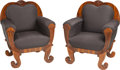 Furniture : Continental, A Pair of Large Biedermeier Bergères, 19th century. 41 h x 32-1/2 wx 25-1/2 d inches (104.1 x 82.6 x 64.8 cm). PROPERTY F... (Total: 2Items)