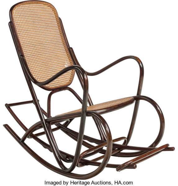 43 Furniture Continental A Thonet Style Woven Cane And Bent Wood Rocking Chair
