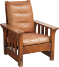 Furniture , A Charles Stickley Arts & Crafts Oak Morris Chair with Leather Cushions. 39 h x 31 w x 37-1/8 d inches (99.1 x 78.7 x 94.3 c...